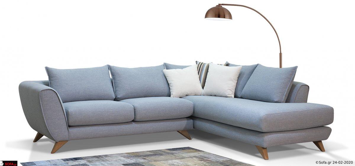 γωνιακός μοντέρνος καναπές με τραπεζάκι