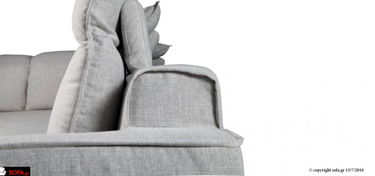 Γωνιακός σε μοντέρνα γραμμή με μαξιλάρια ανάκλισης και ύφασμα φορετό