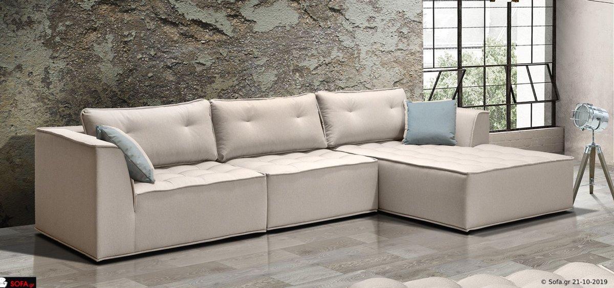Γωνιακός καναπές με καπιτονέ καθίσματα
