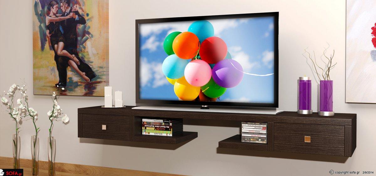 Έπιπλο τηλεόρασης επιτοίχιο με δύο συρτάρια