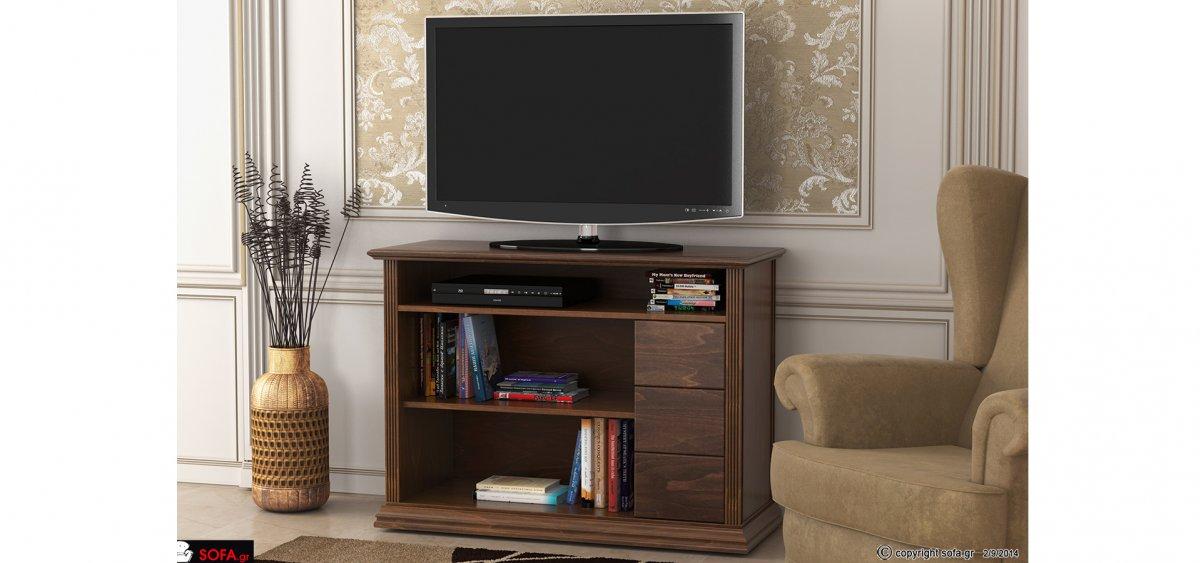 κλασικό έπιπλο tv ψηλό με ράφια και συρτάρια