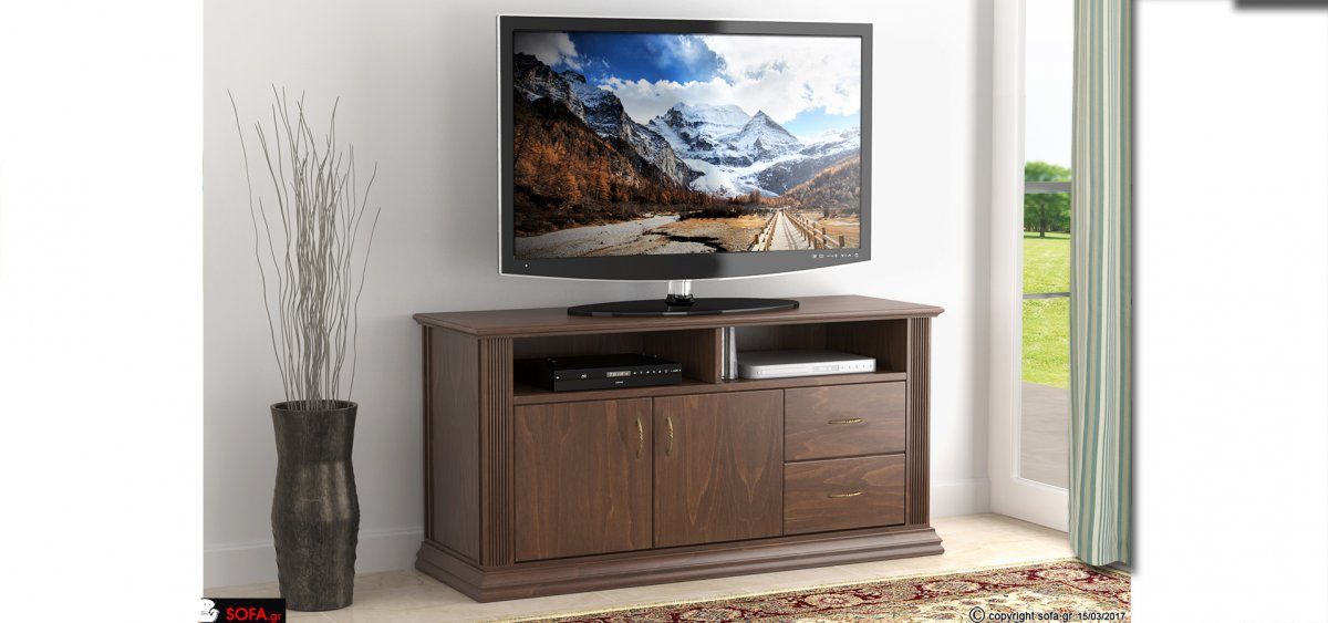 έπιπλο τηλεόρασης σε κλασικό σχέδιο σε καφέ απόχρωση ξύλου