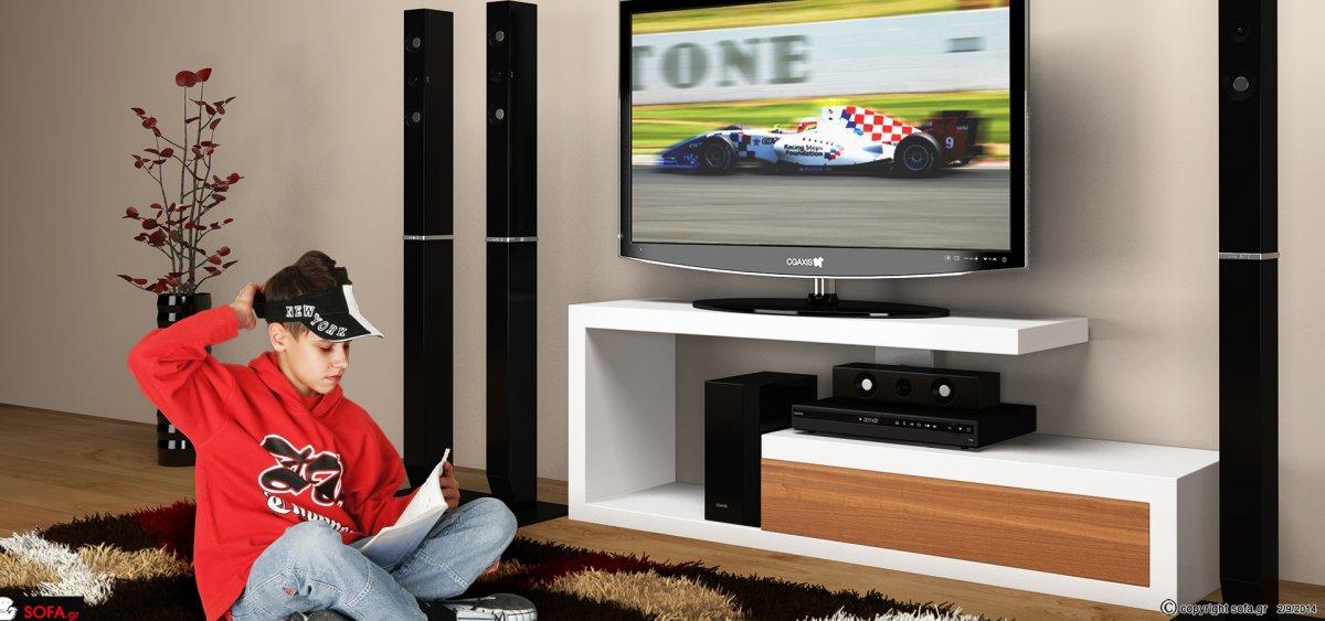 Μοντέρνο έπιπλο τηλεόρασης σε λάκα και ξύλο