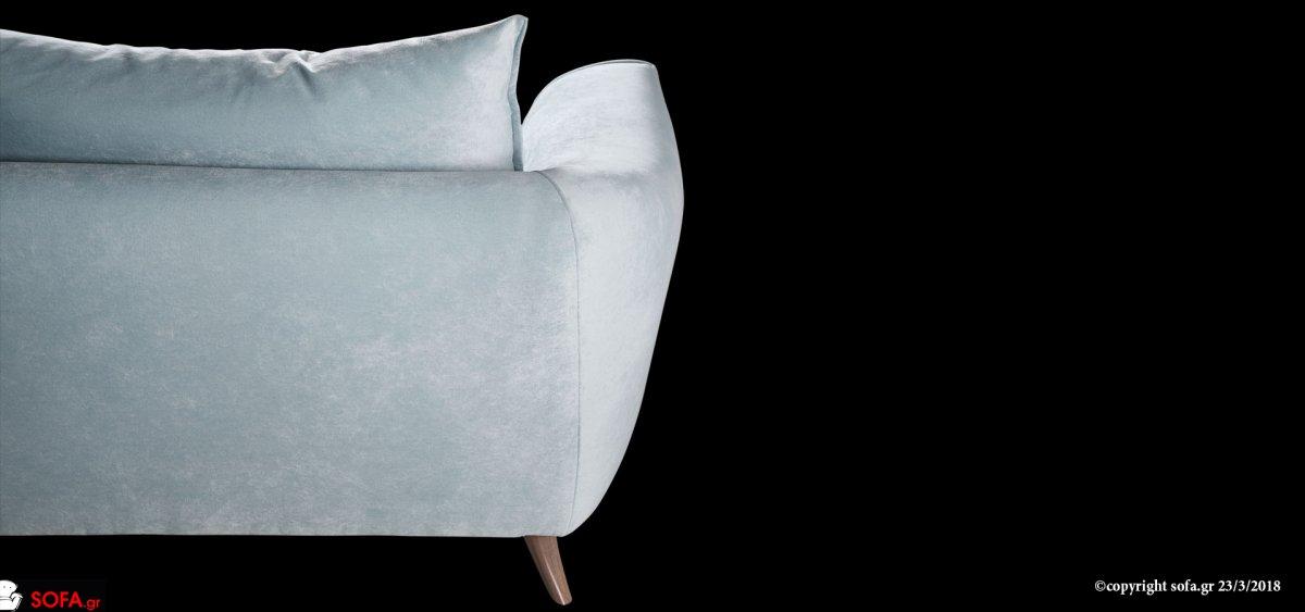 Μοντέρνος καναπές με καθίστική γωνία και ψηλό μασίφ ποδαράκι