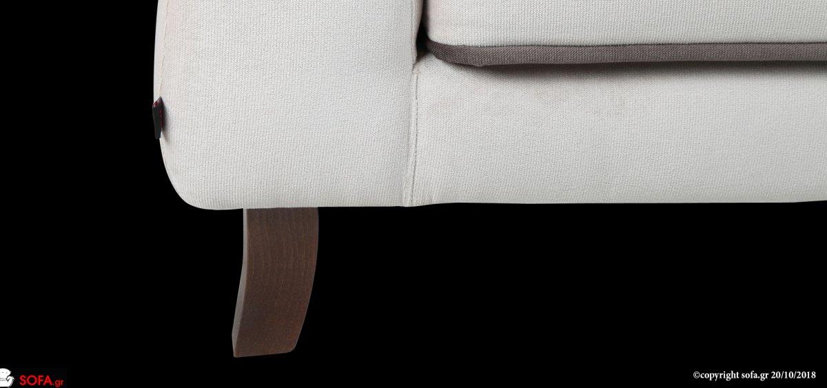 διθέσιος καναπές νεοκλασικός με ψηλό μπράτσο και ποδαράκι και χειροποίητο φιλέτο