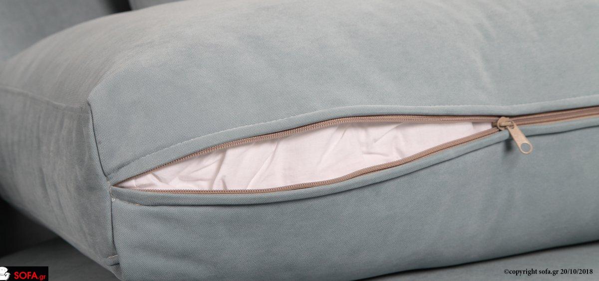 Γωνιακός καναπές με εκμεταλλεύσιμο κάθισμα στην γωνία