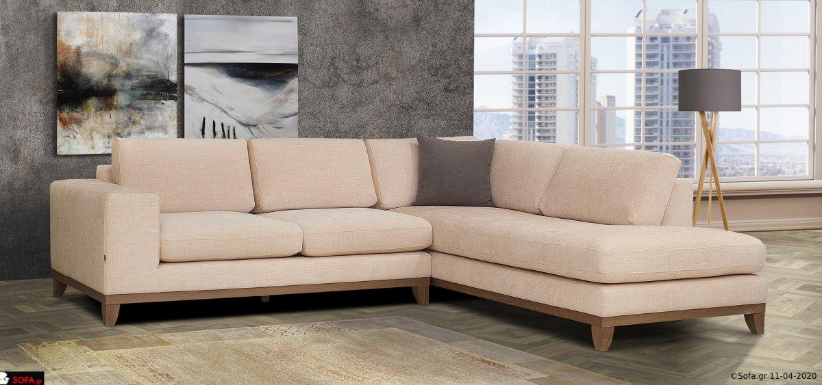 Αναπαυτικός γωνιακός καναπές μίνιμαλ με ξύλινα πόδια και ξύλινη βάση