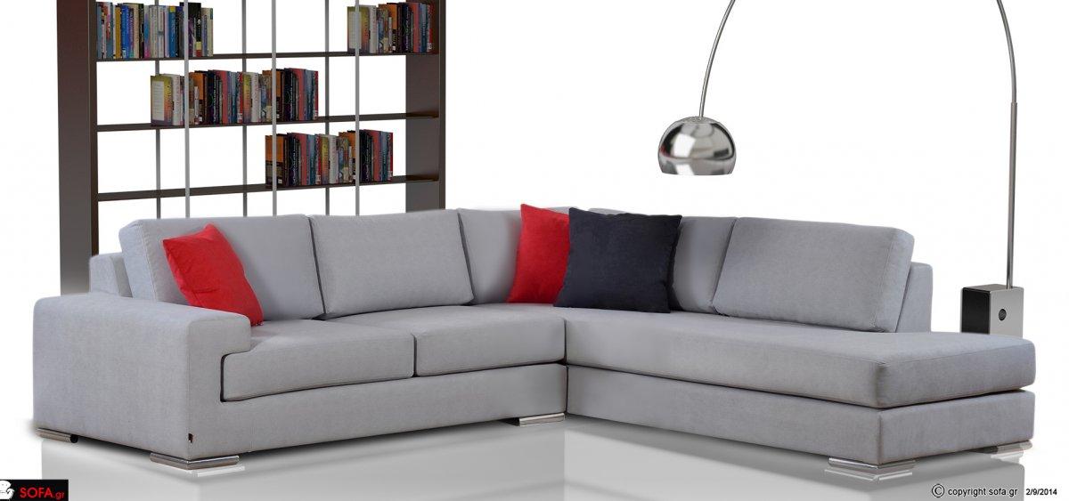 Μονέρνος καναπές γωνία με σκληρά μαξιλάρια
