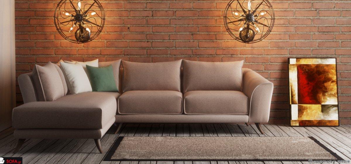 Γωνιακός καναπές Γαλήνη με κυρτό μπράτσο