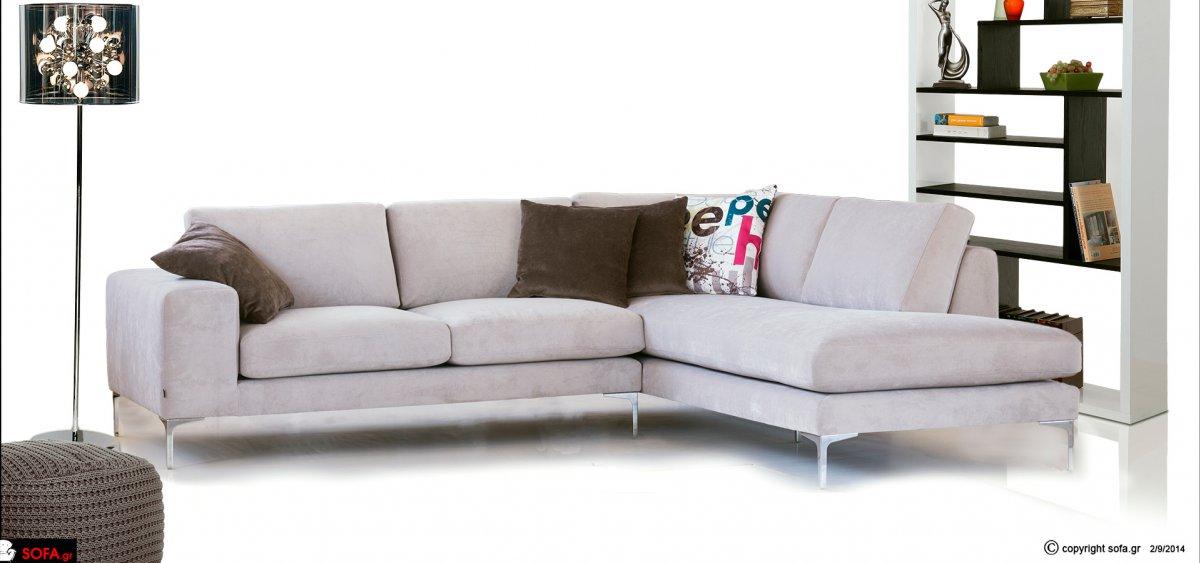 Αναπαυτικός γωνιακός καναπές Minimal με μεταλλικά πόδια