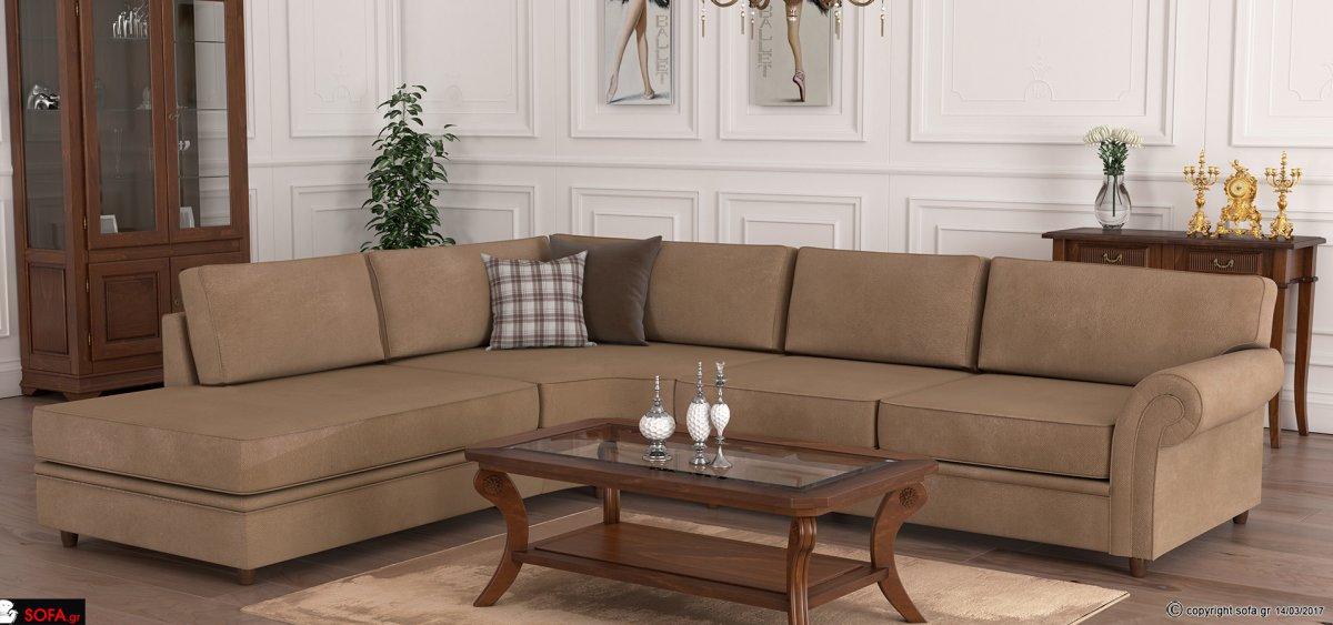 Κλασικός γωνιακός καναπές με ύφασμα στη βάση και στα μαξιλάρια και διακόσμηση με φιλέτα