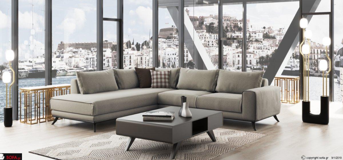 Μπεζ Μοντέρνος γωνιακός καναπές με τετράγωνο μπράτσο καθίσματα μαλακά πλάτες πουπουλένιες ξύλινη μασίφ βάση και ύφασμα που πλένεται