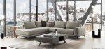 Γκρι Μοντέρνος γωνιακός καναπές με τετράγωνο μπράτσο καθίσματα μαλακά πλάτες πουπουλένιες ξύλινη μασίφ βάση και ύφασμα που πλένεται