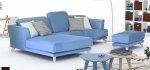 γωνιακός καναπές σε καλοκαιρινό γαλάζιο χρώμα με σκαμπό, ψηλά ποδαράκια, μοντέρνο σχέδιο, αποσπώμενο ύφασμα, πλάτη ανάκλισης