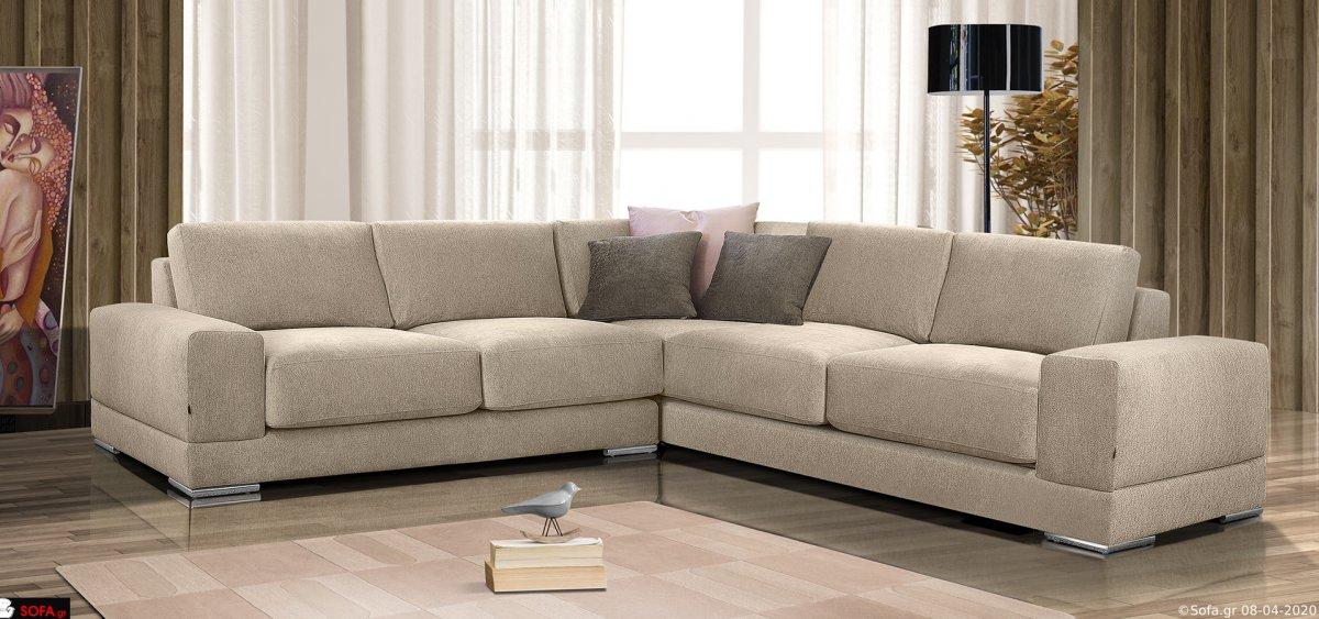 Μοντέρνος γωνιακός καναπές με άνετο κάθισμα χαμηλό μπράτσο και inox πόδια