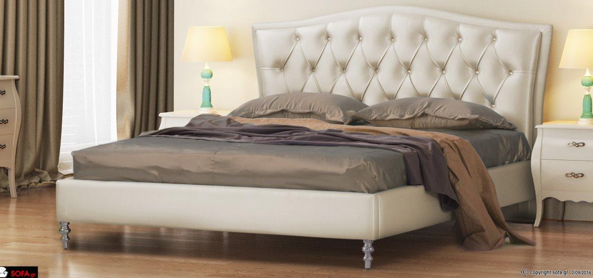 ντυμένο κρεβάτι κλασικό με στρας, ψηλό ποδαράκι και καπιτονέ κεφαλάρι