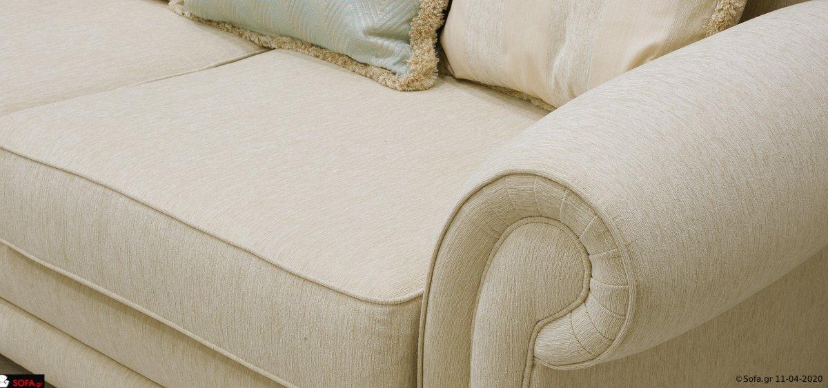Κλασσικός γωνιακός καναπές σε 3 κομμάτια με στρογγυλή γωνία και σε κλασσικό σχεδιασμό