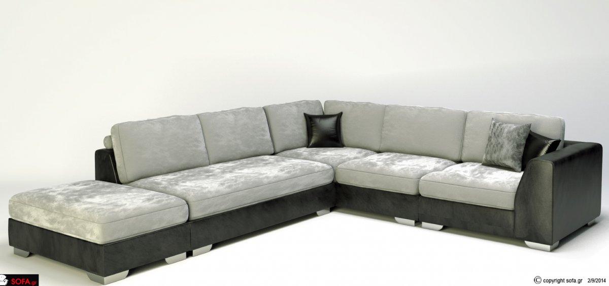 Καναπές γωνία με καφέ δέρμα και μπεζ αδιάβροχο ύφασμα και inox πόδια.
