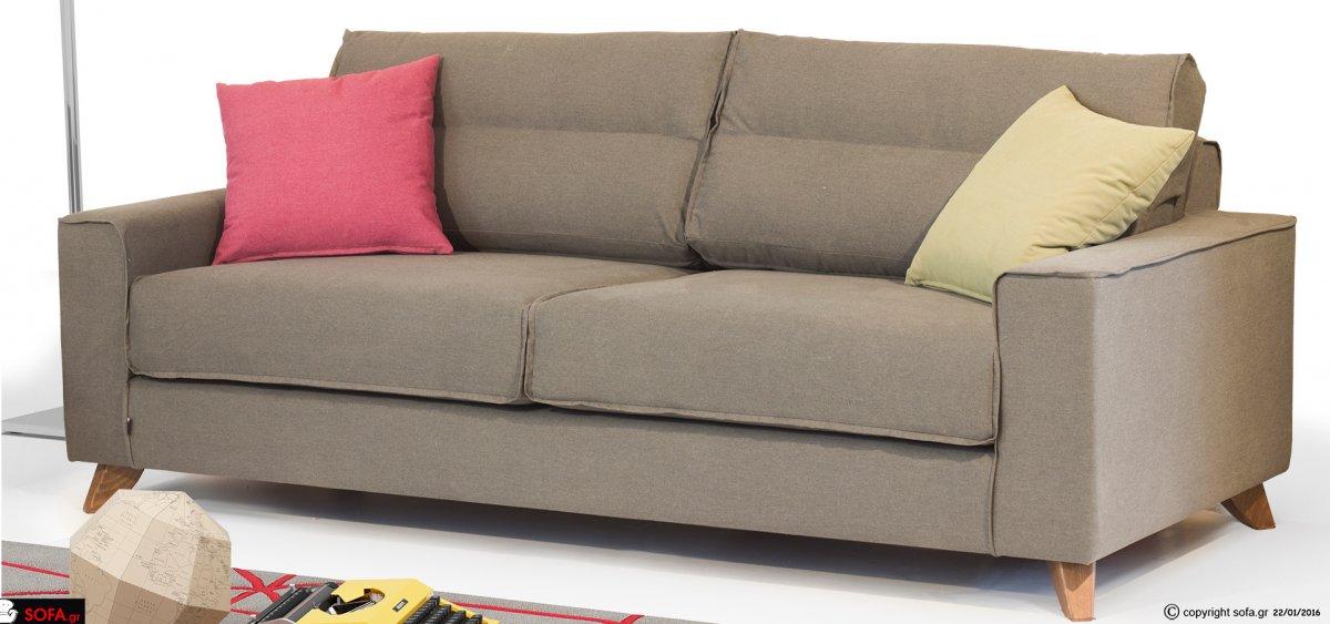καναπές σε μοντέρνα γραμμή γκρι χρώμα, πολύχρωμα διακοσμητικά μαξιλαράκια