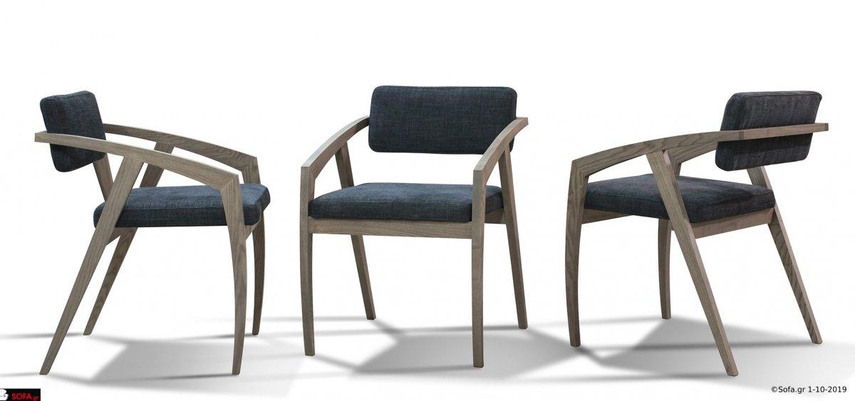 καρέκλα σε μοντέρνο σχεδιασμό με ύφασμα και ξύλο