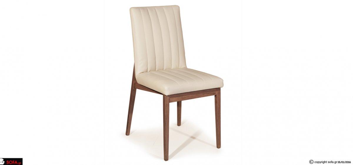 μοντέρνα καρέκλα τραπεζαρίας με αλέκιαστο-αδιάβροχο ύφασμα και  μασίφ  σκελετό οξιάς