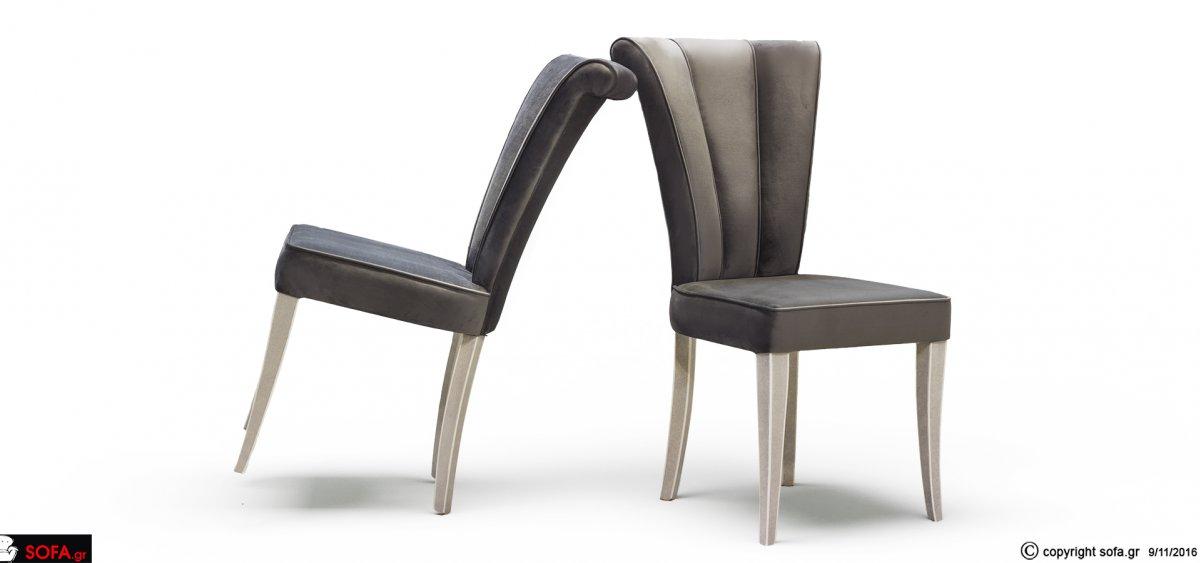 Καρέκλα απο μασίφ οξιά με βελούδο και σχέδιο στην πλάτη