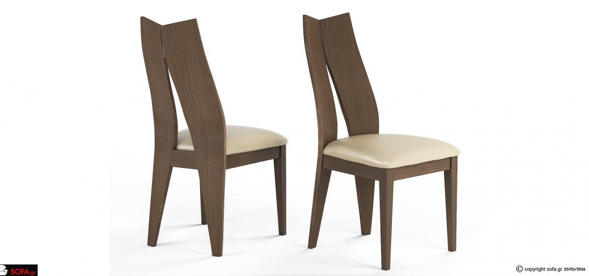 μοντέρνα ξύλινη καρέκλα τραπεζαρίας με ιδιαίτερη αναπαυτική πλάτη απο κόντρα πλακέ θαλάσσης