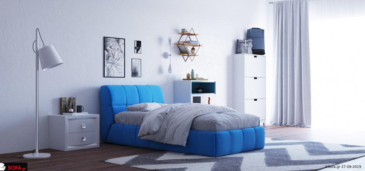 υφασμάτινο μονό κρεβάτι σε μπλέ χρώμα