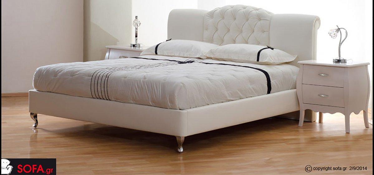 Κρεβάτι υφασμάτινο μασίφ οξιά με καπιτονέ κεφαλάρι και ψηλό ποδαράκι