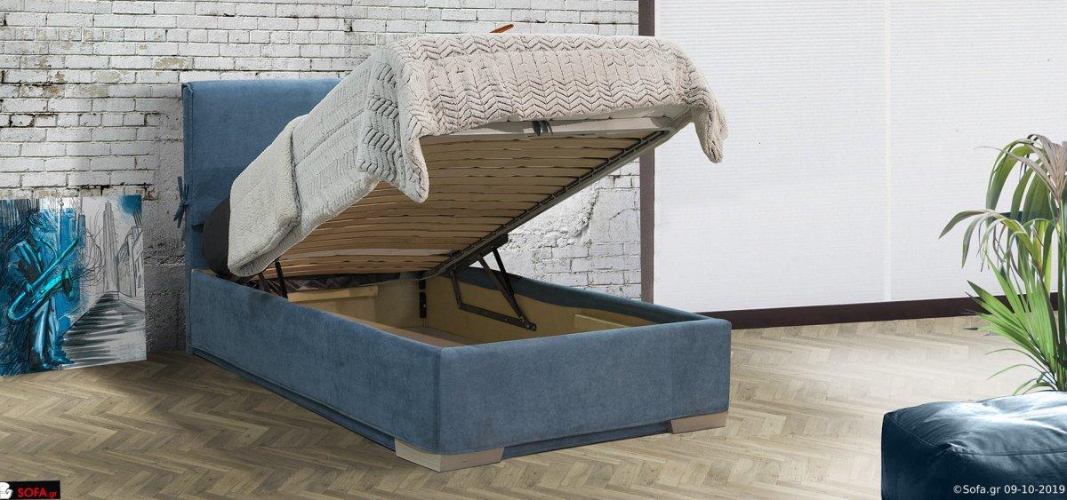 μασίφ υφασμάτινο κρεβάτι μονό σε μπλέ απόχρωση με ύφασμα αποσπώμενο