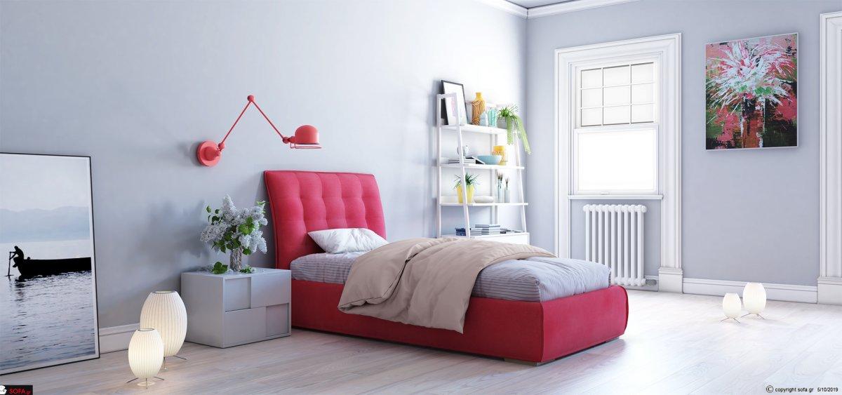 Μοντέρνο υφασμάτινο κρεβάτι μονό με ύφασμα αποσπώμενο σε ρόζ απόχρωση