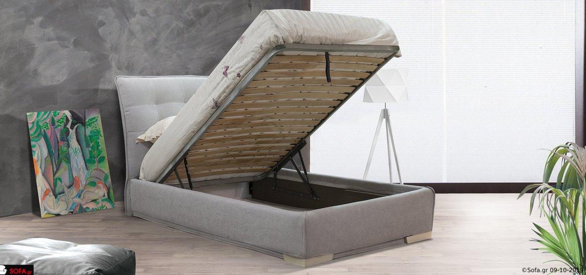 Υφασμάτινο κρεβάτι μονό με καπιτονέ ψηλό κεφαλάρι και ύφασμα αποσπώμενο