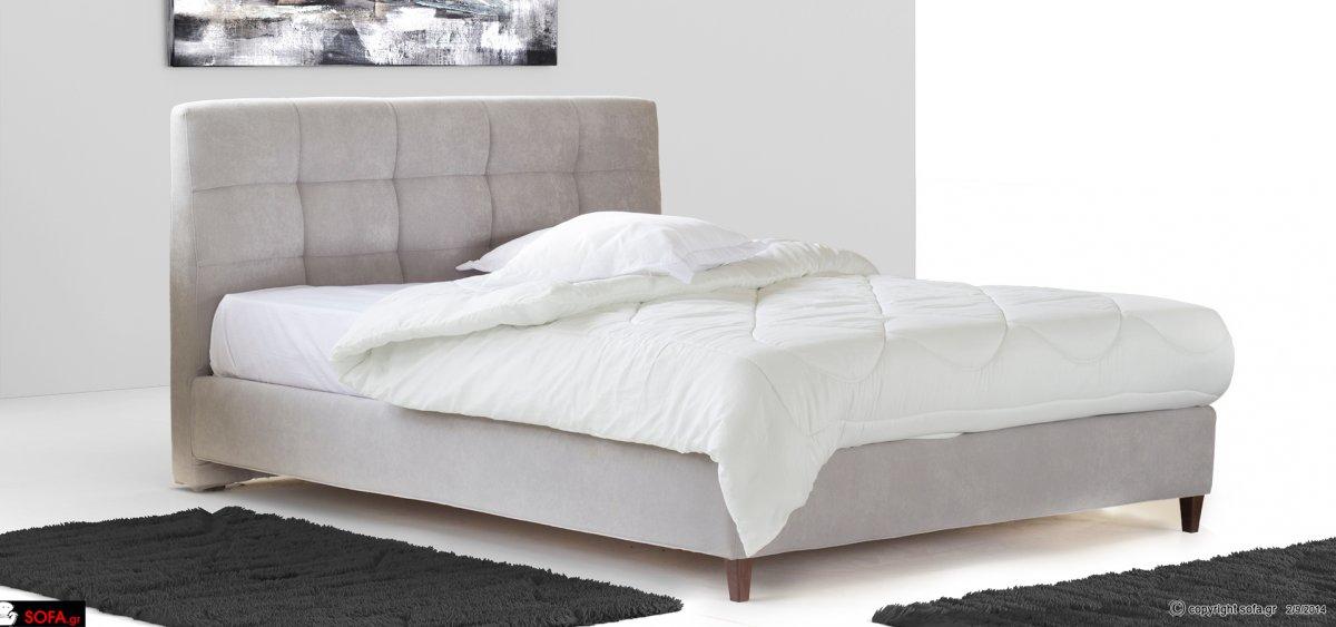 υφασμάτινο κρεβάτι με καπιτονέ από μασίφ οξιά