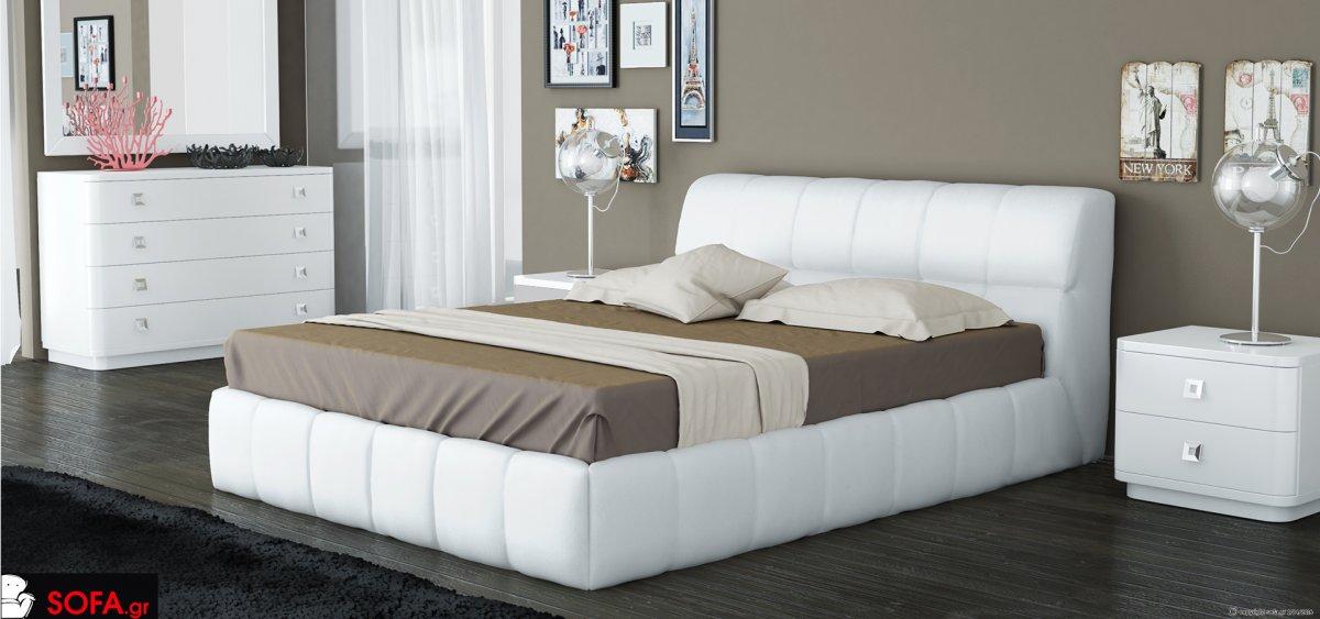 Κρεβάτι απο μασίφ οξιά με ύφασμα σε μαύρη απόχρωση και αποσπώμενο με χαμηλό ποδαράκι