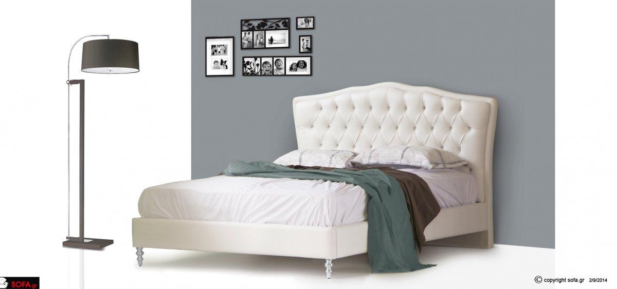 μασίφ κρεβάτι κλασικό με στρας, ψηλό ποδαράκι και καπιτονέ κεφαλάρι