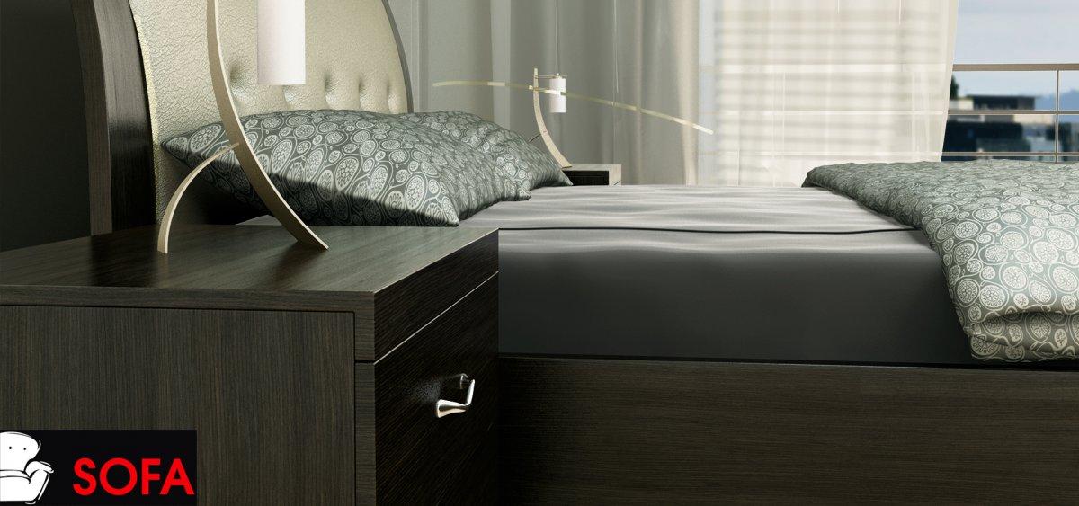 Κρεβατοκάμαρα σετ σε ξύλο και δέρμα με καπιτονέ με κλίση στο κεφαλάρι