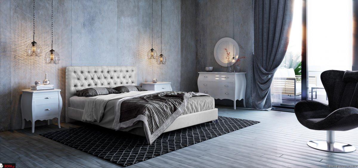 Κρεβάτι υπέρδιπλο νεοκλασικό, με καπιτονέ πλάτη με στρας.