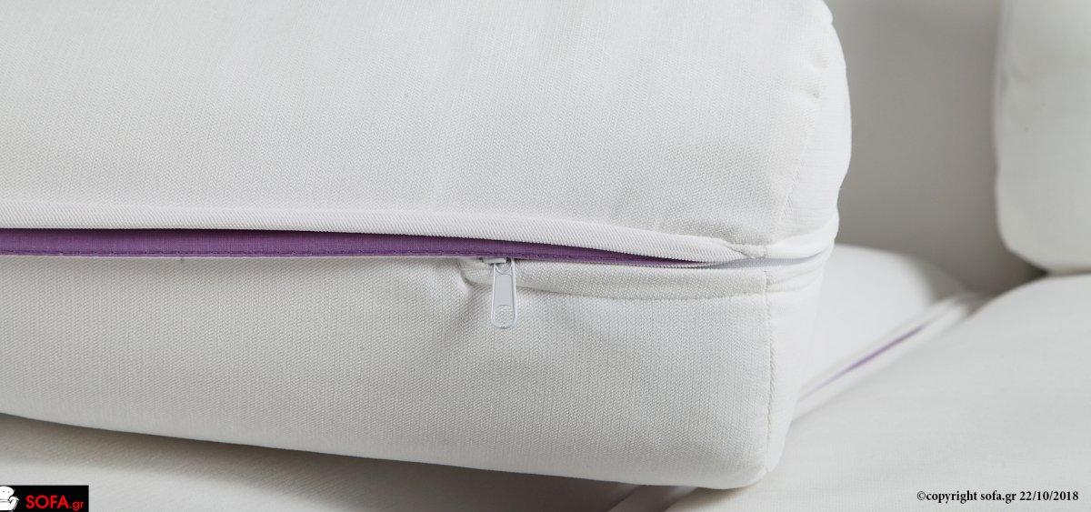 γωνιακός καναπές με μαξιλάρια ανάκλισης και βαθύ ανάκλιντρο σαν κρεβάτι, αποσπώμενο γαλάζιο ύφασμα αδιάβροχο-αλέκιαστο