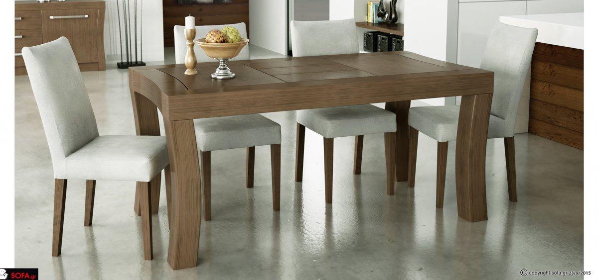 μοντέρνα τραπεζαρία με ιδιαίτερο πόδι και υφασμάτινες καρέκλες