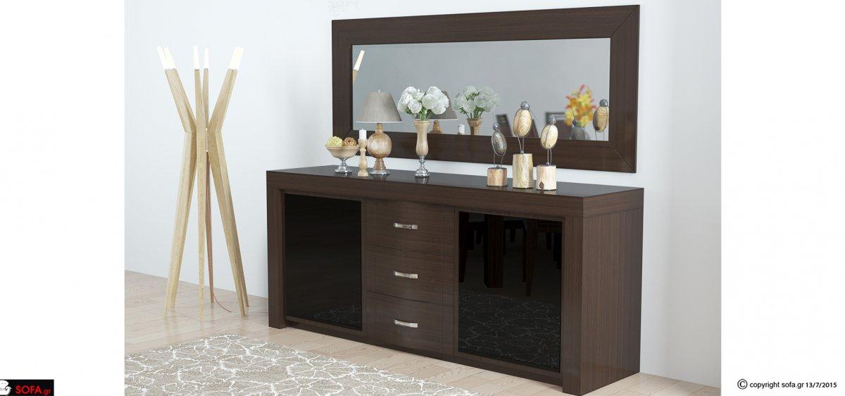 Μπουφές από ξύλο οξιάς ή δρυός με ορθογώνιο καθρέφτη με σκούρα τζάμια σε οικονομική τιμή.