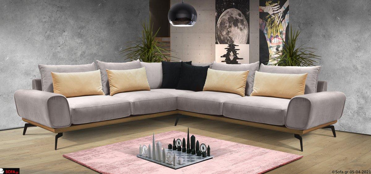 Γωνιακός καναπές με μασίφ ξύλινη βάση και μαξιλάρια από πούπουλο