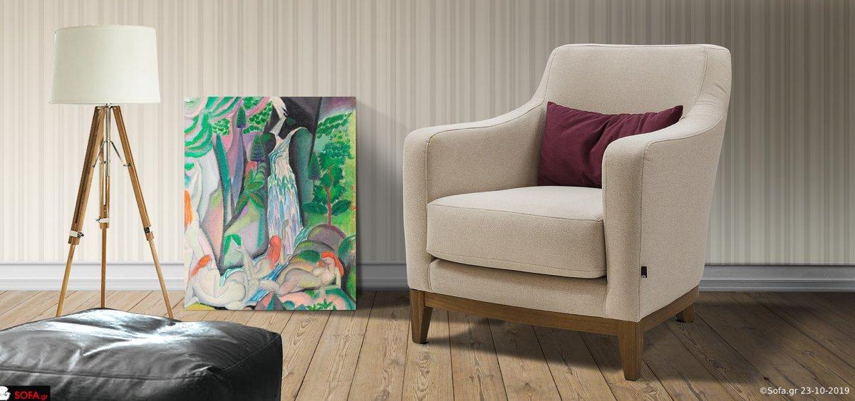 Πολυθρόνα σαλονιού με ανατομική πλάτη και ξύλινα πόδια, σε άσπρο χρώμα.