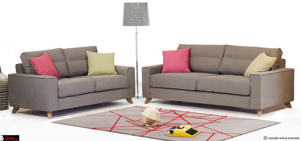 μοντέρνο σετ τριθέσιου και διθέσιου καναπέ με ψηλό ποδαράκι και αναπαυτικό κάθισμα και 50% βαμβακερό ύφασμα