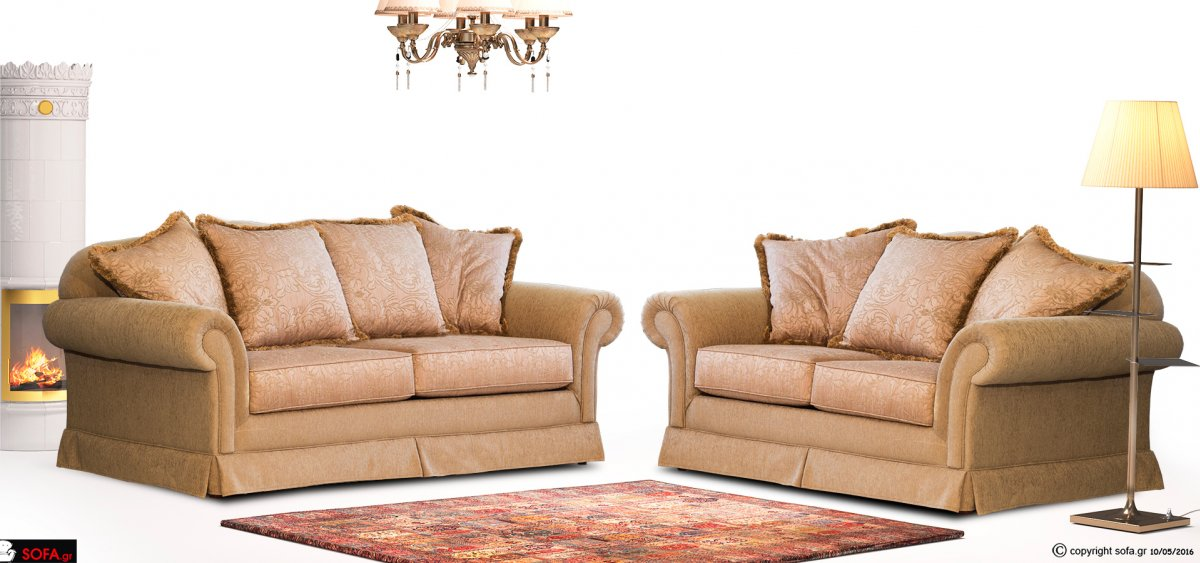 σετ τριθέσιος και διθέσιος καναπές σε κλασική γραμμή