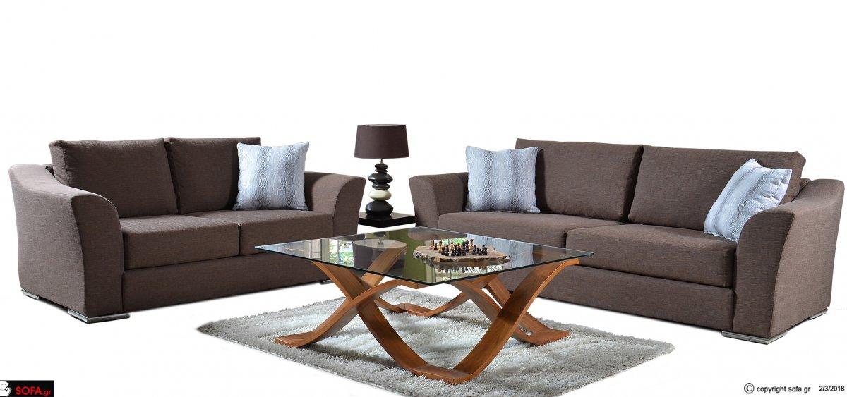 Σετ καναπέδων με inox πόδια, σε γκρι-καφέ χρώμα.