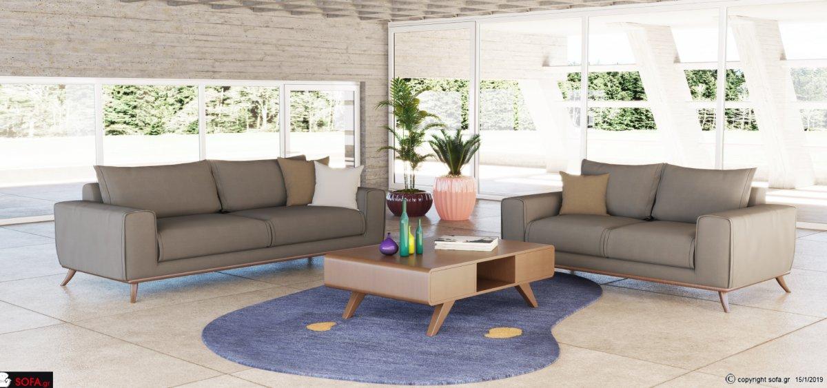 γκρι καναπές με μασίφ ξύλινη βάση