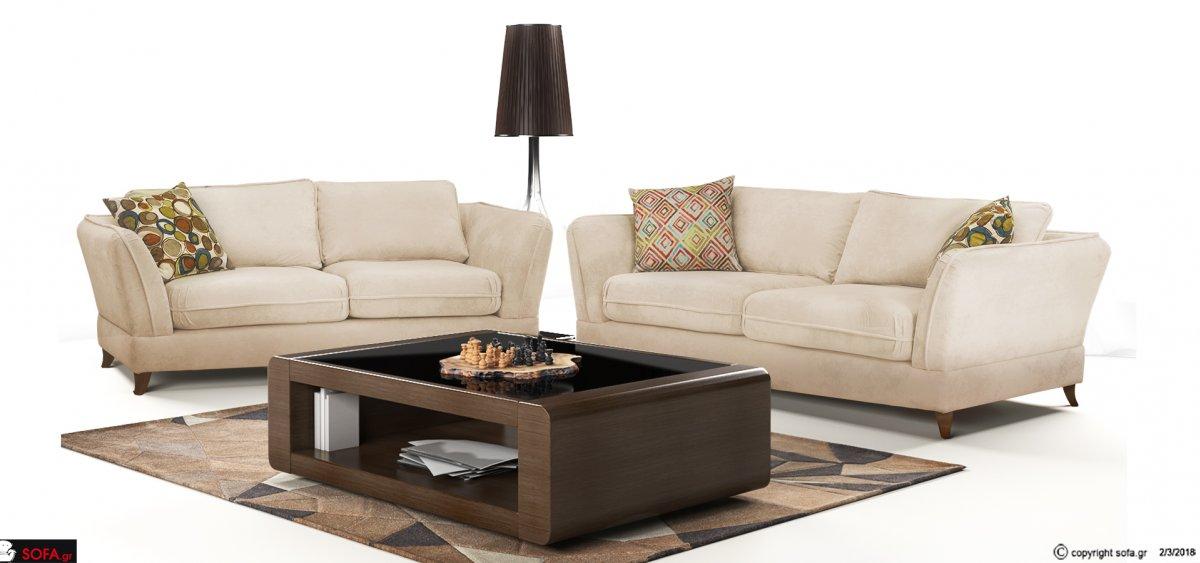 Νεοκλασσικό σαλόνι με πούπουλο και αλέκιαστο ύφασμα