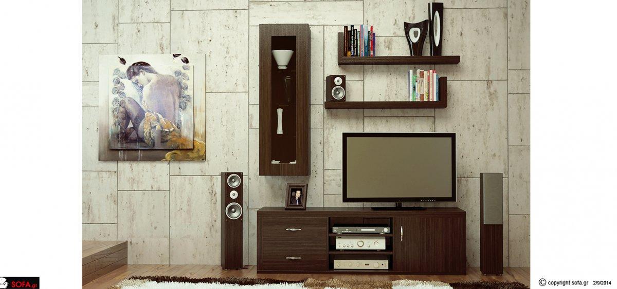 Μοντέρνα σύνθεση προσφοράς με επιτοίχιο ντουλάπι με βιτρίνα και ράφια τοίχου