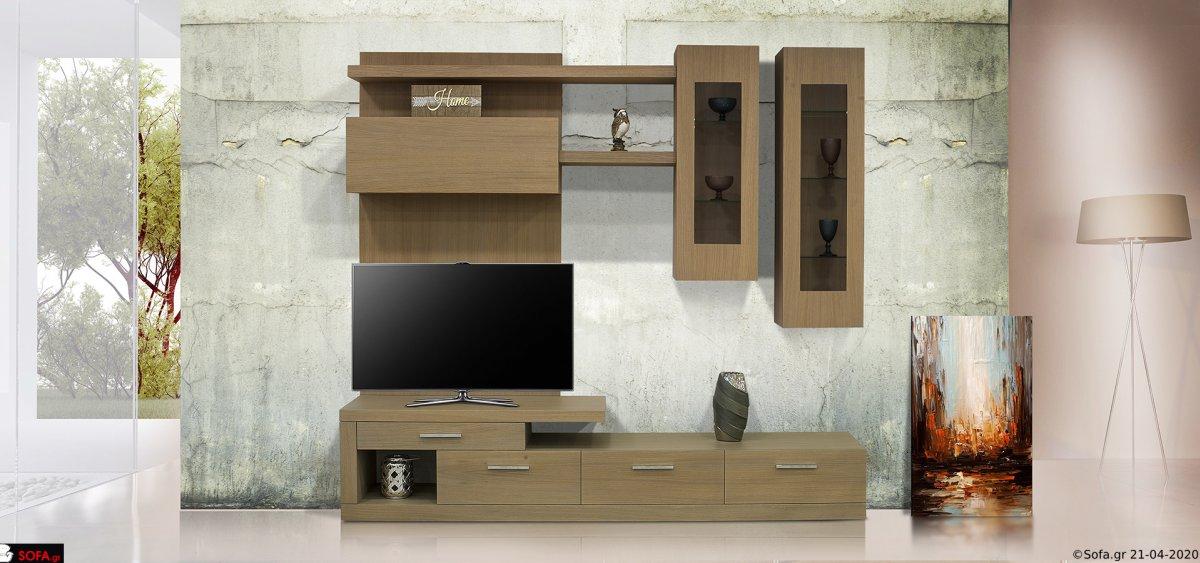 Σύνθεση σαλονιού με επιτοίχια ντουλάπια με βιτρίνα και ράφια και συρτάρια με αποθηκευτικό χώρο στην βάση