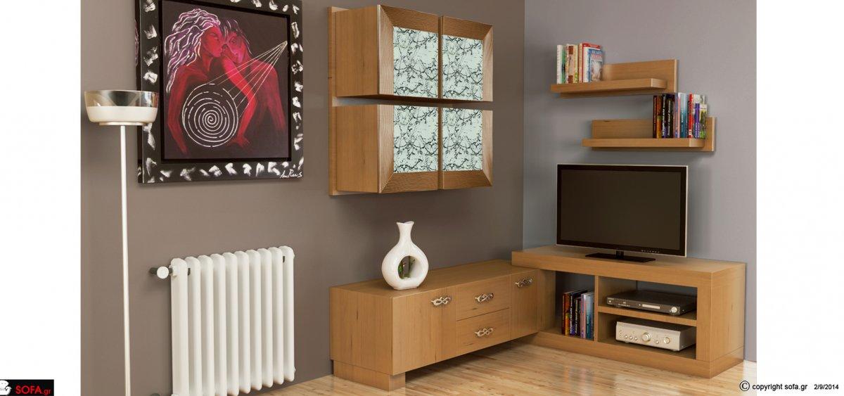 Σύνθεση μοντέρα με ντουλάπια και συρτάρια και ράφια